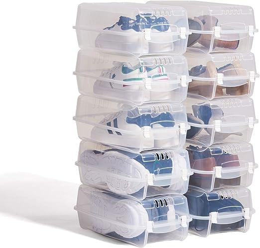 Caja organizadora de zapatos de Hododou de plástico transparente apilable para mujer y hombre, caja organizadora de zapatos de 36,5 x 20 x 12 cm: Amazon.es: Hogar