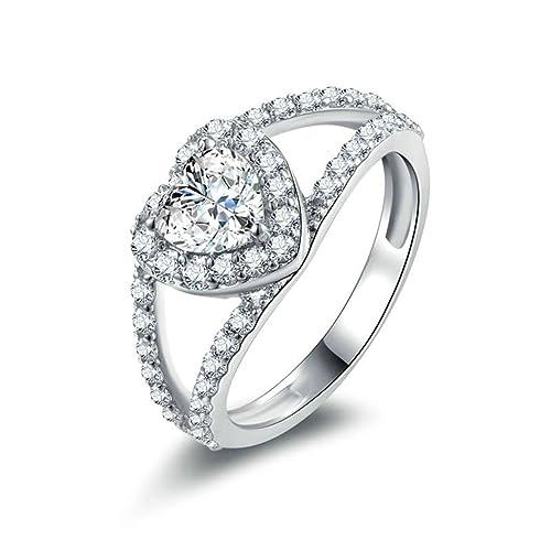 Daesar Joyería Anillos de Compromiso de Plata S925 Mujer, Hueco Corazón con Diamantes Pave Anillo