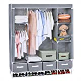 Portable Clothes Closet, Canvas Wardrobe Closet Huge Free Standing Clothes Organizer Storage with Hanging Rod, Dust-Proof Cover 67x58x17.7 inch