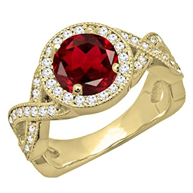 e94f3981fe4 DazzlingRock Collection Femme 14K Or Jaune de mariée Halo Style de Bague de  fiançailles 9.5