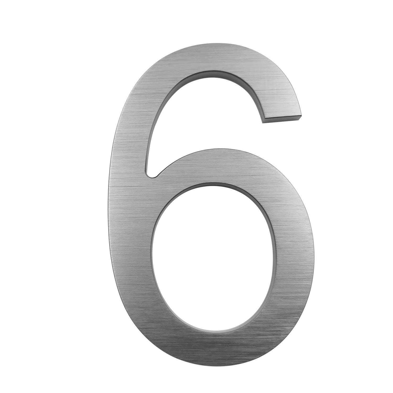 Door Number 0 Aluminum Address Numbers Cobata 6 Inch Floating House Numbers Grey Modern Street Numbers
