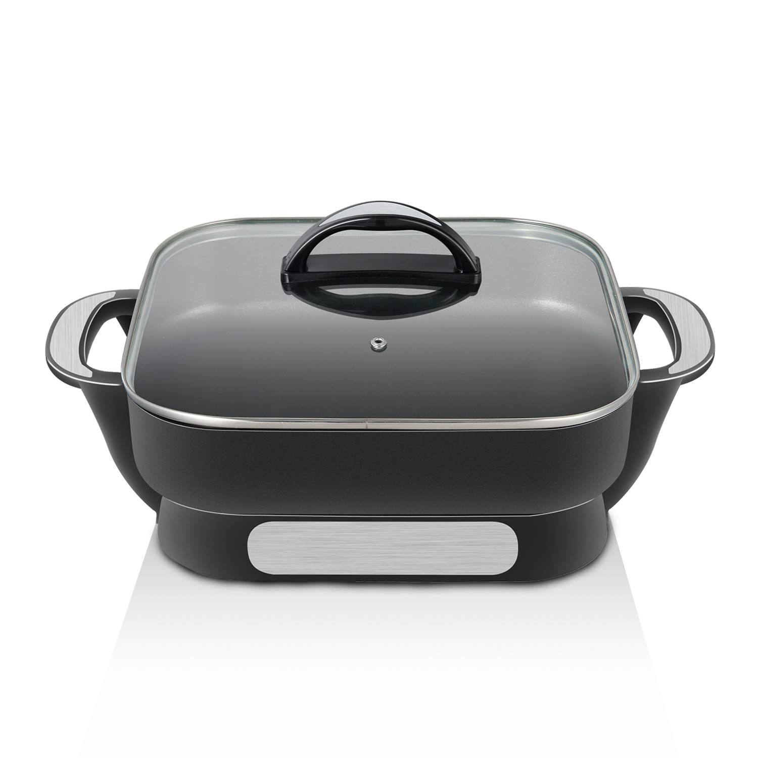 efluky 12 inch Electric Skillet, Non-stick Electric Skillet with Glass Lid Great for Cooking Anything from Breakfast to Dinner, 13 x 13 x 5 inch, Black, GD-12