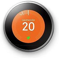 Google Nest Learning Thermostat Acero Inoxidable, Se controla desde el teléfono, Ayuda a ahorrar energía