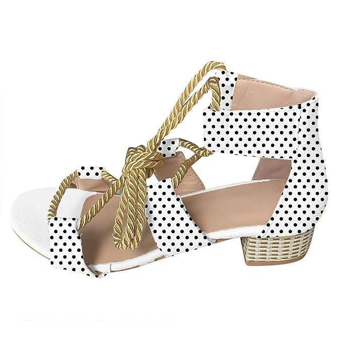 b1ec3d75acf8b Chunky Low Heels for Women Summer Open Toe Cutout Criss Cross Ankle Lace Up  Beach Sandals