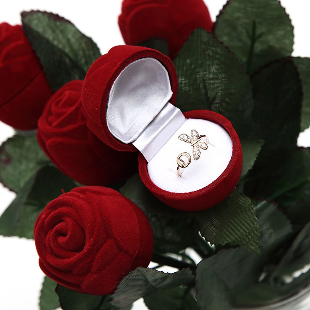CRAZYON Red Rose Jewelry Box Wedding Ring Earrings Storage Display Holder Gift Box Red