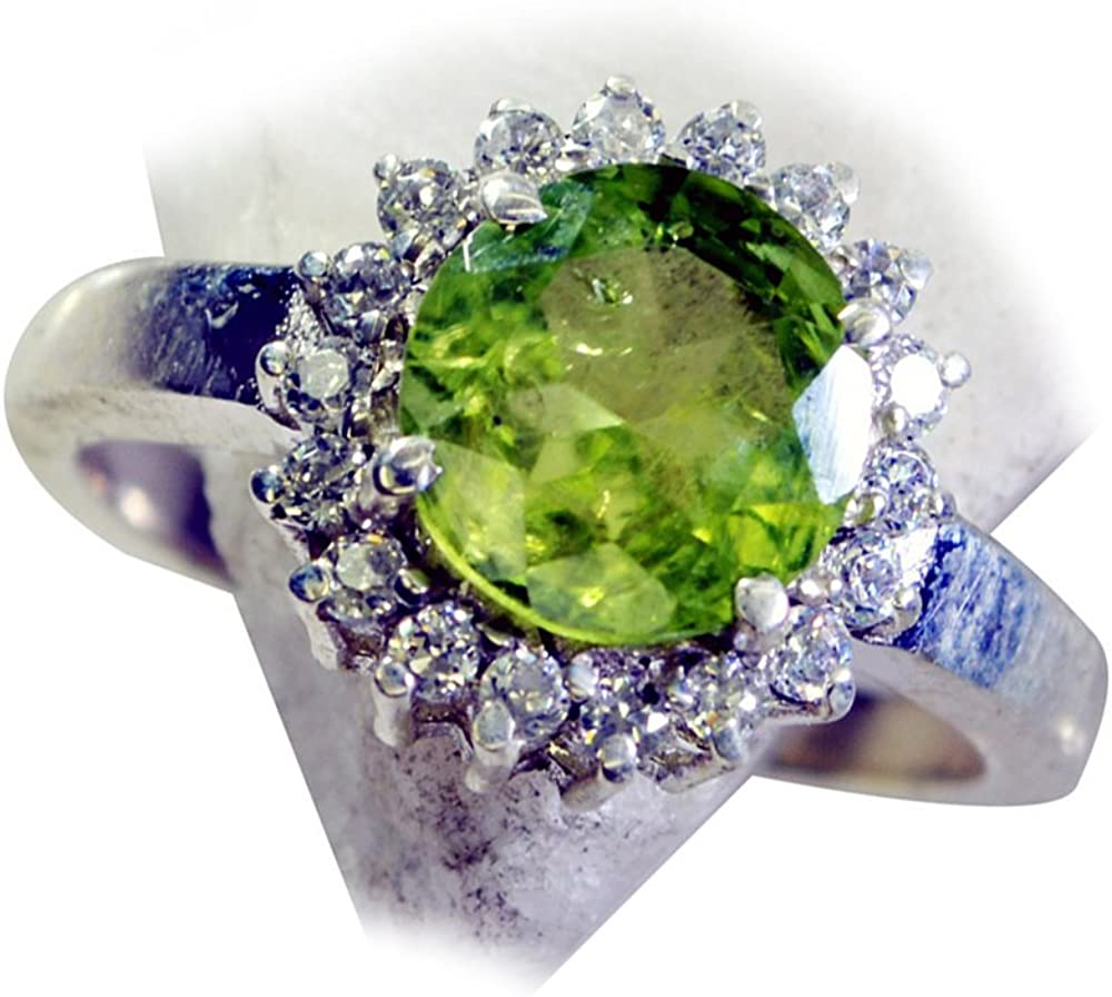 55Carat Natural Oval Peridot Ring /& CZ Halo Style August Birthstone Handmade Size 4,5,6,7,8,9,10,11,12