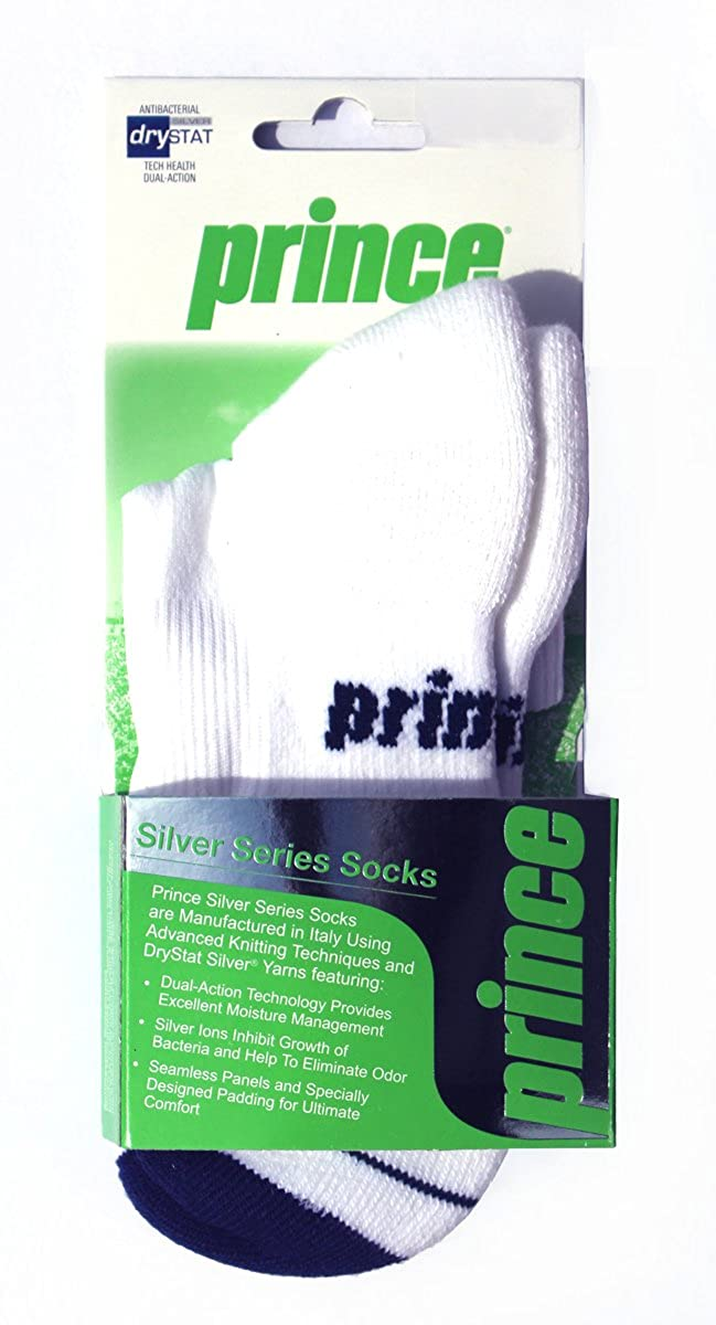 Prince シルバーシリーズ アスレチック クッション メンズまたはレディース ソックス ランニング/テニス/バドミントン/スカッシュ X-Large  B01GOX3DZ0
