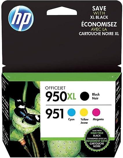 HP 950 X L Negro Cartucho de Tinta de Alto Rendimiento Cartucho 951 Cian, Magenta y Amarillo Cartuchos de Tinta Original, Pack de 4 Unidades (c2p01fn): Amazon.es: Oficina y papelería