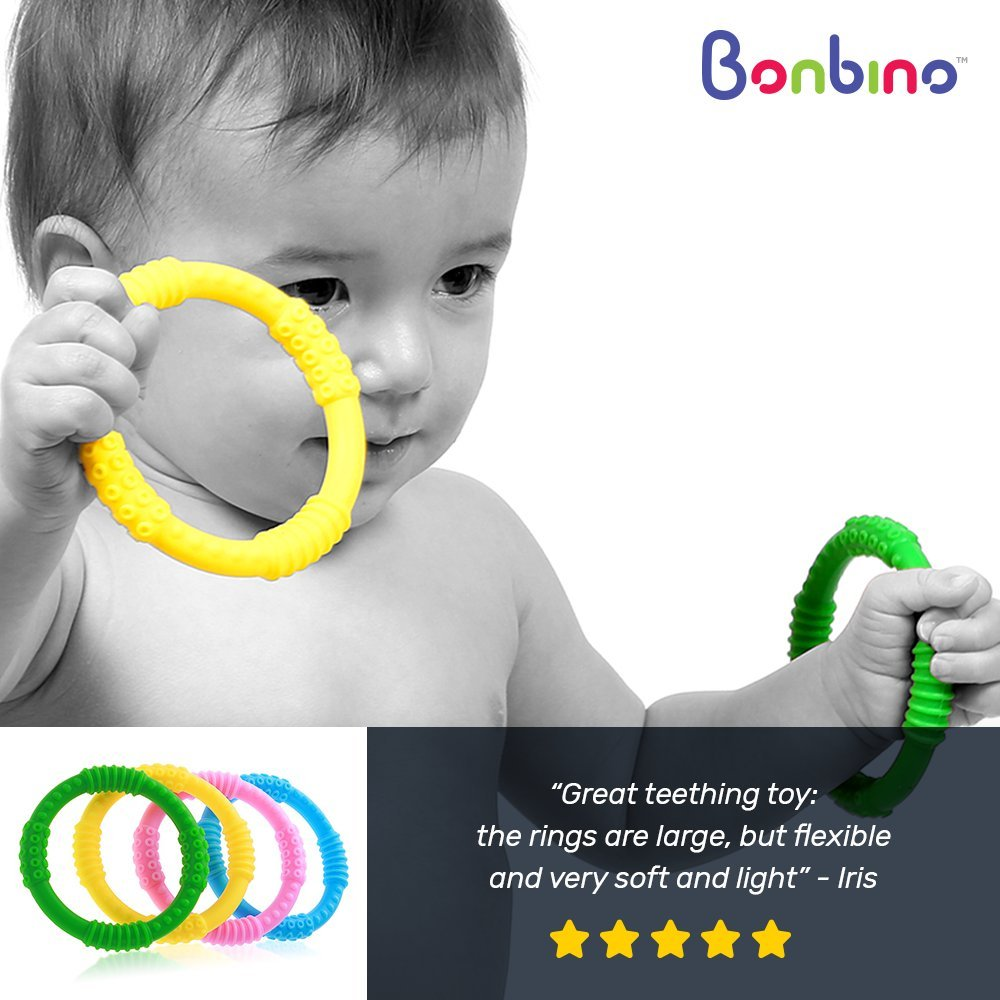 Teether Rings - (4 Pack) Silicone Sensory Teething Rings - Fun, Colorful and BPA-Free Teething Toys - Soothing Pain Relief and Drool Proof Teether Ring (Unisex) by Bonbino (Image #3)