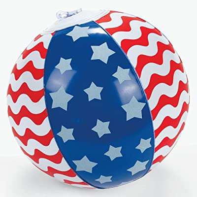 Inflatable Patriotic 5 Inch Stars & Stripes Mini Beach Balls (12 Pack): Toys & Games