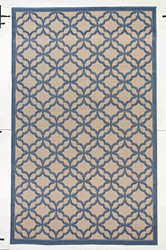 Outdoor Mats Flat weave Indoor Outdoor Rugs with Contemporary Festival Design Area Rugs Patio Rug Flooring Carpets (5x8- 4'11''x7'10'', Blue) (5x8 Outdoor Rug)