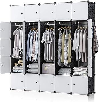 "5x5 Tiers White Portable Wardrobe Storage Closet Plastic Armoire 18/"" Depth"