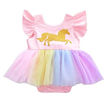 57bd219c83a7 Cake Smash Outfits Unicorn Romper Dress Baby Girls Shiny Sequin ...