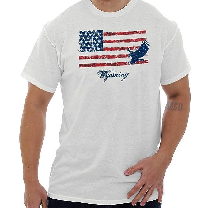 Classic teaze Wyoming USA T Shirt Camisa de la bandera de American Vintage regalo Ideas camiseta Tee - Blanco - : Amazon.es: Ropa y accesorios