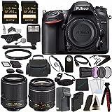 Nikon D7200 DSLR Camera (Body Only) + Nikon AF-P DX NIKKOR 18-55mm f/3.5-5.6G VR Lens + Nikon AF-S DX NIKKOR 55-200mm f/4-5.6G ED VR II Lens + Battery + Sony 64GB SDXC Card + Remote + Flash Bundle