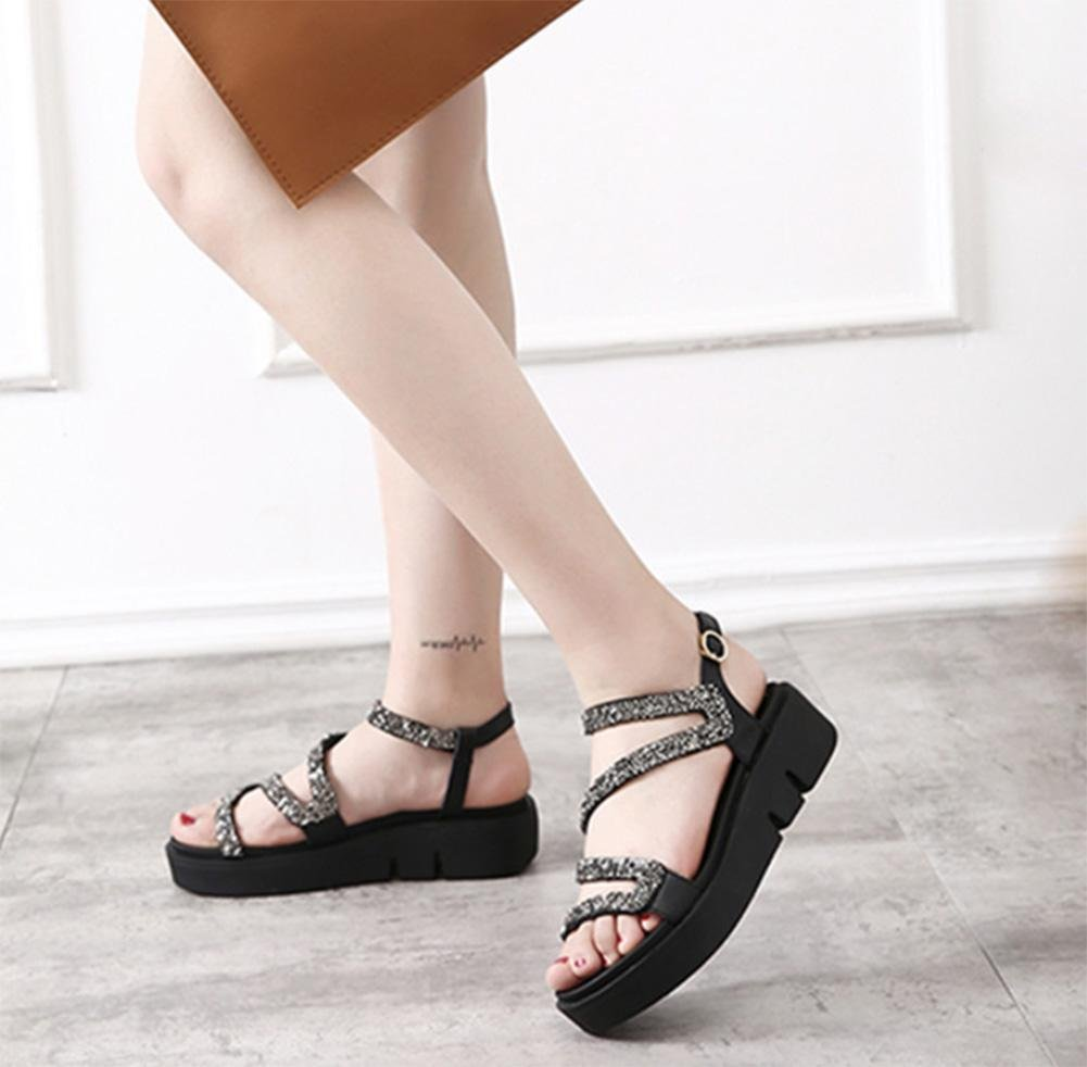 Amoi mit weibliche Sandalen flache Steigung mit Amoi offenen Sandalen Frauen Sandalen Dame Strass Sandalen und Pantoffeln schwarz 14b597