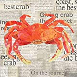 Paperproducts Design Crab Shack Paper Beverage Cocktail Napkin, 5 by 5-Inch
