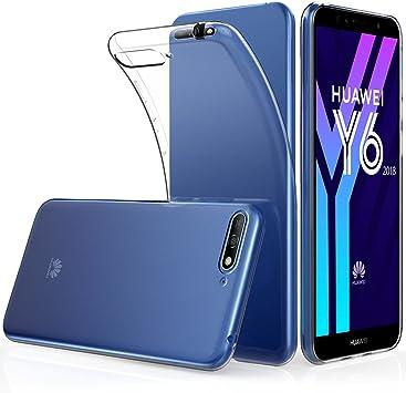 Peakally Funda Huawei Y6 2018, Transparente Silicona Funda para ...