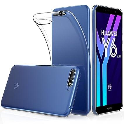 Peakally Funda Huawei Y6 2018, Transparente Silicona Funda para Huawei Y6 2018 Carcasa Flexible Claro Ligero TPU Fundas [Antideslizante] [Resistente a ...