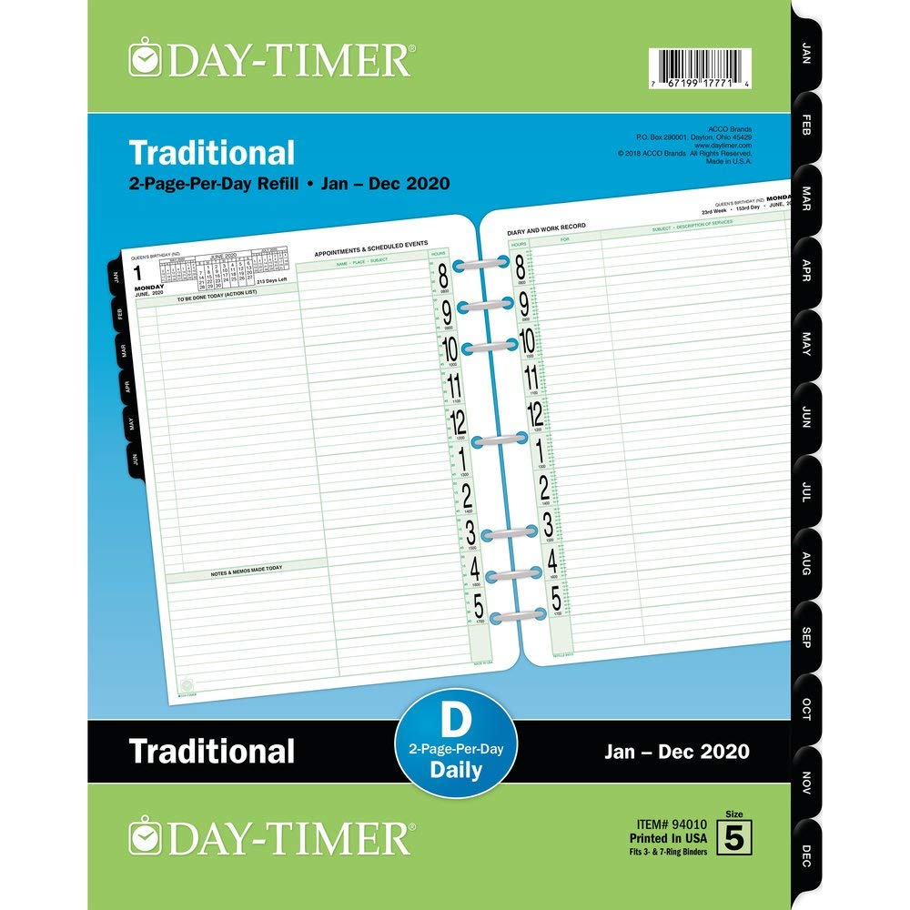 Day-Timer 2020 Daily Planner Refill, 8-1/2'' x 11'', Folio Size 5, Two Pages Per Day, Loose Leaf, Traditional (94010) by Day-Timer