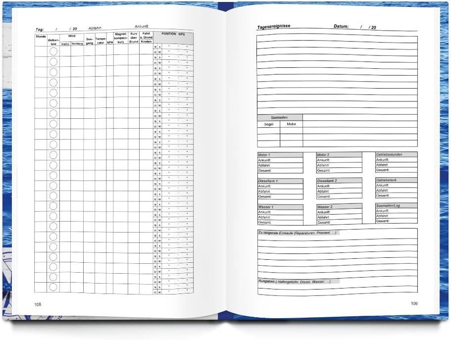 XXL DIN A4 HARDCOVER Logbuch ANKER dunkel-blau Yachtlogbuch Schiffstagebuch Buch nach amtlichen Vorschriften Eigner Yacht Segeln Segler Geschenk Segelyacht Motorboot Besitzer f/ür 100 Tage auf See