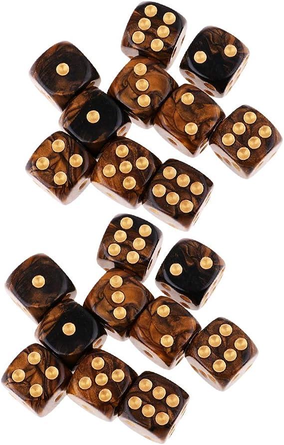 IPOTCH 20x Juego de Mesa D6 Dados de Seis Caras Juguete de rol para Fiesta, Negro Dorado: Amazon.es: Juguetes y juegos