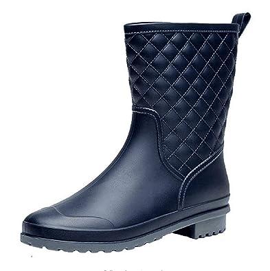 26502e7e9d9 Women's Welly Wellington Rain Boots Mid - Calf Waterproof Field Shoes  Rubber Garden Boots