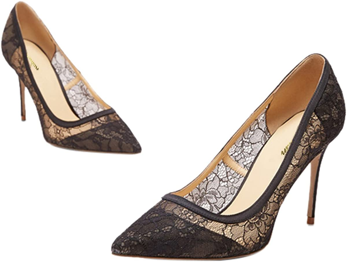 QianZuLian Womens Pointed Toe Lace Pattern Big Size High Heel Stilettos Pumps for Wedding Banquet