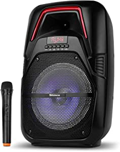 Shinco Portable PA System with Wireless Microphone, Bluetooth Speaker 8-inch Subwoofer, AUX, FM Radio, USB, Remote Control, Rechargeable Battery