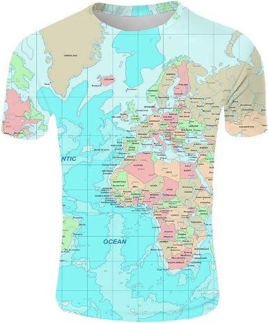 Camiseta de Manga Corta Mapa del Mundo Camisetas Estampado 3D para Hombre Camiseta Casual Homme Manga Corta Fresca Tendencia: Amazon.es: Ropa y accesorios