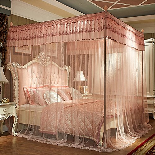 Royal- European Style Four-poster Rails Mosquito Net Three-door Single Double Encryption Thickening Princess Style Stainless Steel Bracket ( Color : Jade color , Size : 1.8m (6 Feet) Bed ) by Mosquito Net (Image #1)
