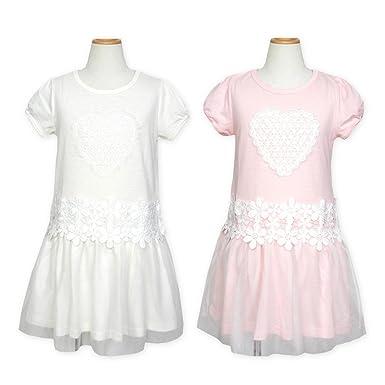 4240a7066ac8e (ピンク 130cm)子供服 女の子 ワンピース 半袖 Dolly Ribbon ドーリーリボン レース装飾