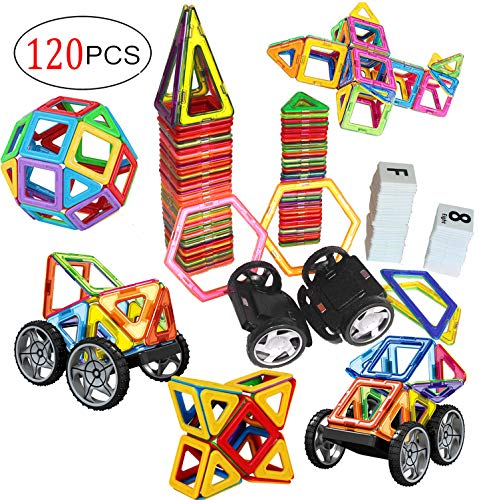 dreambuilderToy Magnetic Tiles, 120 PCS Creative Magnetic Building Blocks Set, Magnetic Tiles STEM Preschool Educational Construction Kit(120 PC Set)