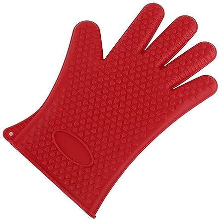 Rojo de silicona de forma de corazón antideslizante guantes ...