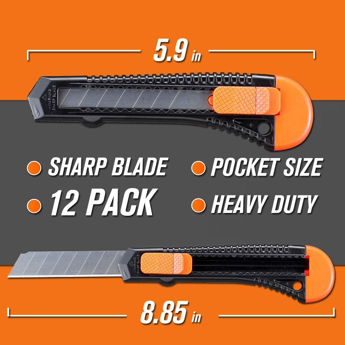 REXBETI 12-Pack Utility Knife, Retractable Box Cutter for Cartons, Cardboard and Boxes, 18mm Wider Razor Sharp Blade, Smooth Mechanism, Perfect for Office and Home use: Office Products
