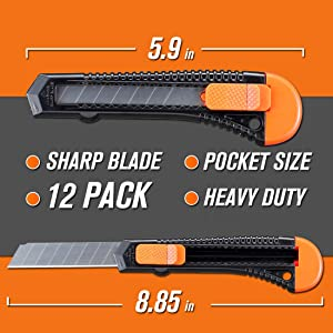 REXBETI 12-Pack Utility Knife, Retractable Box Cutter for Cartons, Cardboard and Boxes, 18mm Wider Razor Sharp Blade, Smooth Mechanism, Perfect for Office and Home use (Color: Orange, Tamaño: Medium)