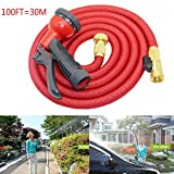 Garden Hose Heavy Duty,100FT Garden Hose Expandable Magic Flexible Hose Brass Connector 8-pattern Nozzle for Watering Plants,Showering Pets,Cleaning Patio,Cleaning Car(Red)
