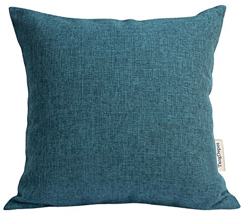 Blue Euro Pillow Sham (TangDepot Heavy Lined Linen Cushion Cover, Throw Pillow Cover, Euro Shams, European Throw Pillow Covers, Indoor/Outdoor - (26