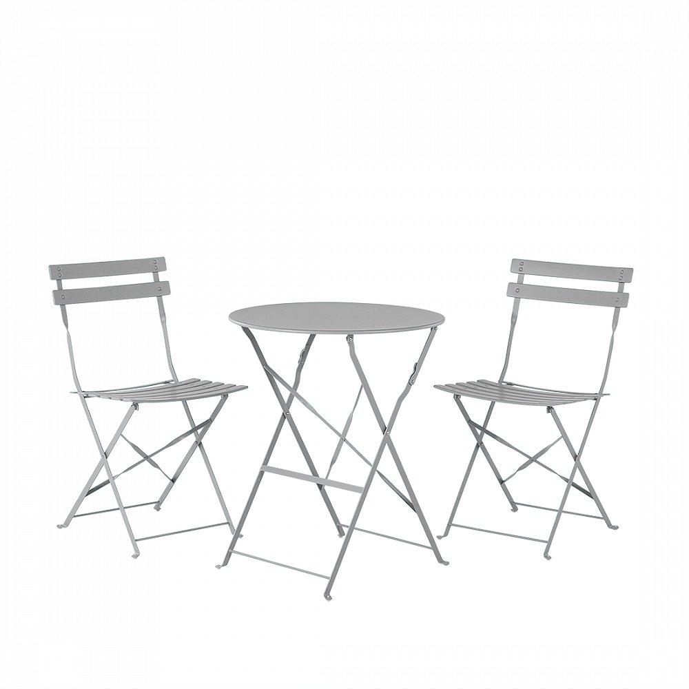 Gartenmöbel Grau - Balkonmöbel - Terrassenmöbel - Tisch mit 2 ...