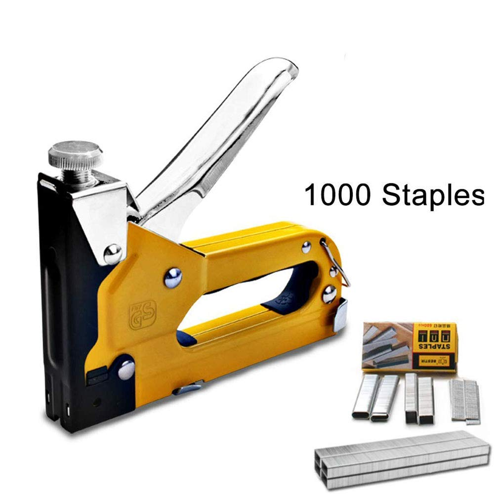 Staple Gun, 3-in-1 Staple Gun, Hand Operated Carbon Steel Brad Nail Gun, Tool for Fixing Material, Decoration, Carpentry, Furniture, Doors And Windows, Billboards, 1000 Staples Attached,C-LSGJ1