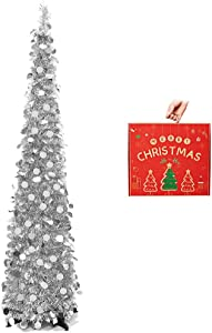 N&T NIETING Christmas Tree,5ft Collapsible Pop Up Christmas Tree Silver Tinsel Coastal Christmas Tree for Holiday Xmas Decorations,Home Display, Office Decor