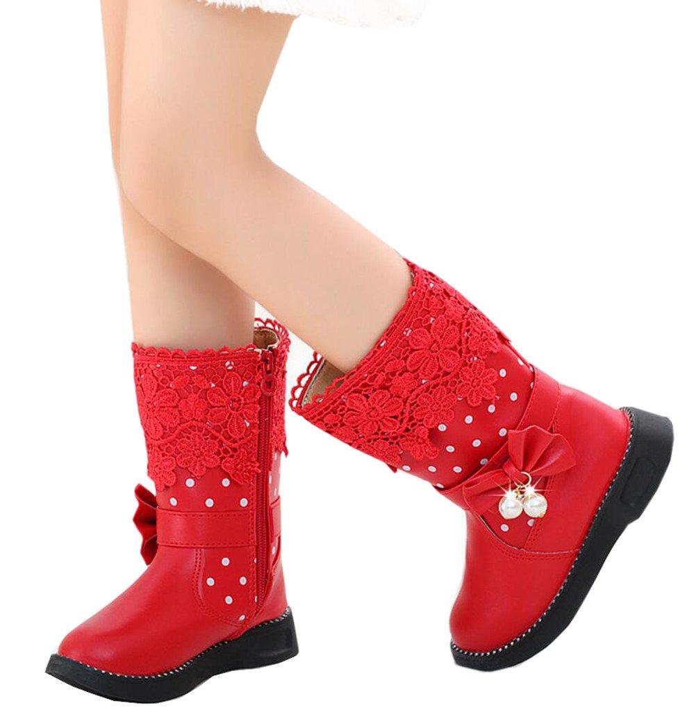DADAWEN Girl's Waterproof Lace Bowknot Side Zipper Fur Winter Boots (Toddler/Little Kid/Big Kid) Red US Size 12.5 M Little Kid