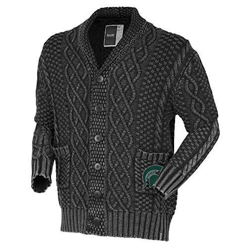 NCAA Michigan State Spartans Mens Cable Shawl Cardigancable Shawl Cardigan, Black, Large