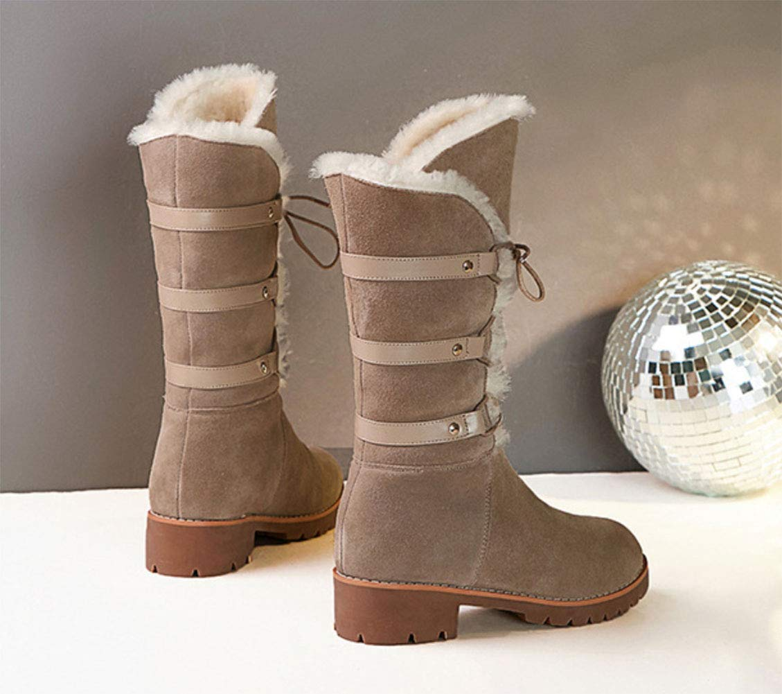HRN Frauen Winter Schnee Stiefel Leder Leder Leder dick mit runden Kopf Stiefel schnüren Dicke warme Lamm Mode Stiefel c28595