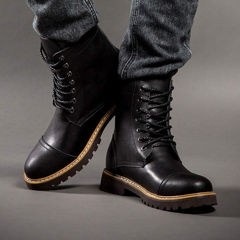 Gfphfm Men ' S Stiefel, Outdoor Casual Casual Casual Leather Martin Stiefel große große Größe High-Top Lace-Up Fashion Motorcycle Stiefel,B,42 eb6d96