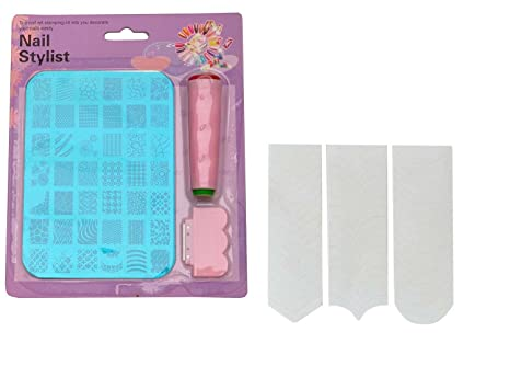 Buy Fok Stamping Nail Art Kit And French Plastic Manicure Tip
