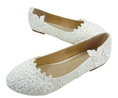 9c36fa28910 Selene Lace Flat Heel Wedding Shoes Vintage Lace Pearls Bridal Ballet Flat  Heels Shoes UK3-