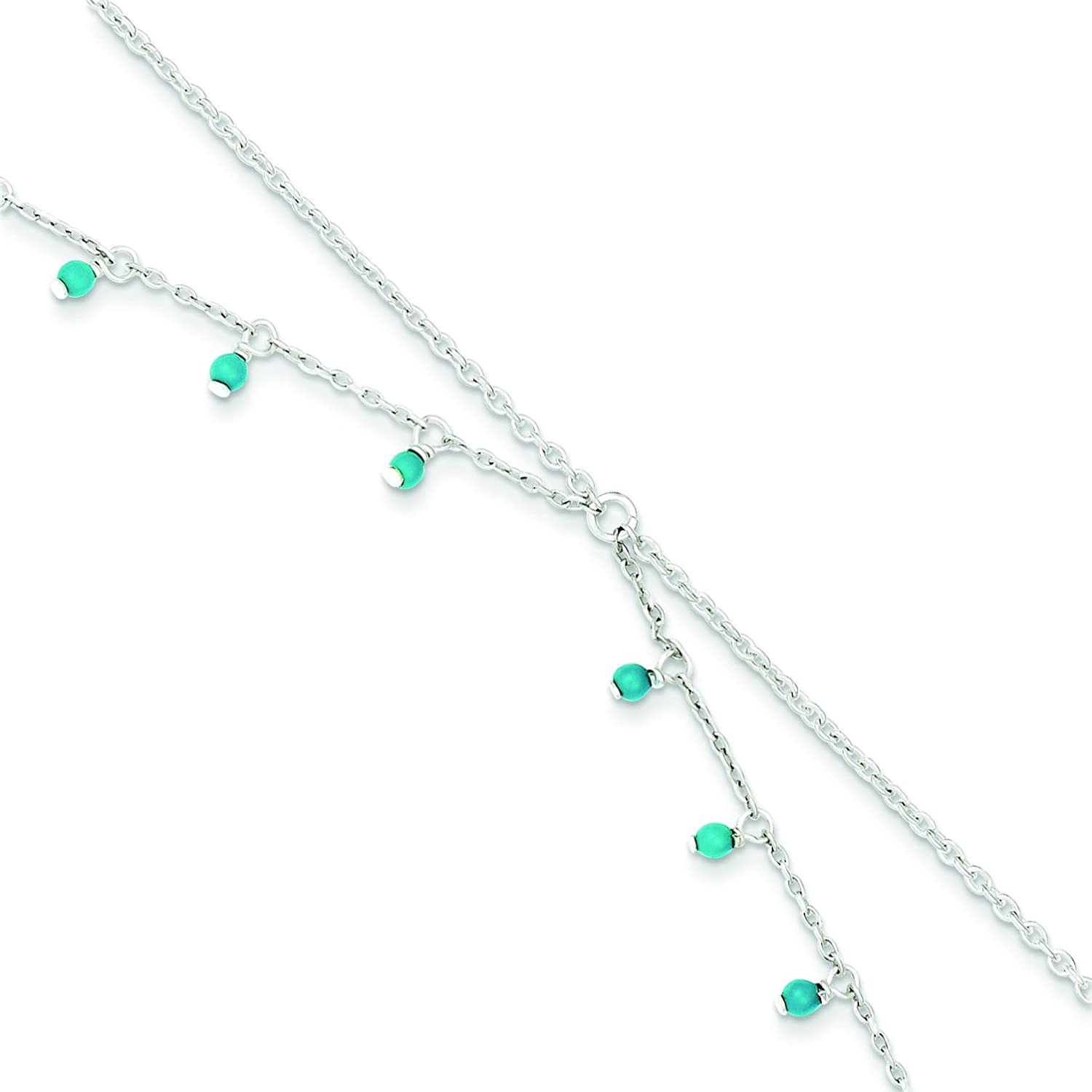 Sterling Silver Turquoise Double Chain Anklet Bracelet