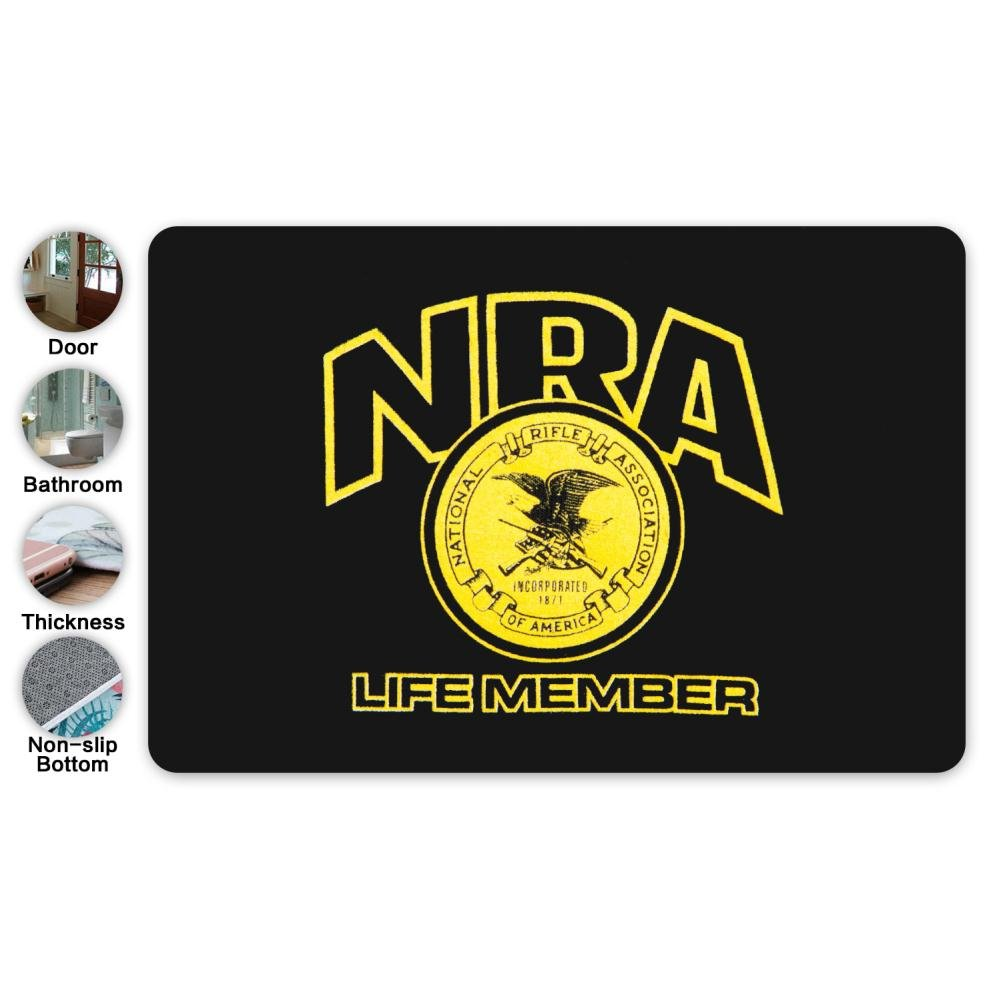 LSJDD 3D Custom Printing NRA Life Member Home Decor Door Mats,Bathroom/Thickness/Non-slip Bottom Doormat/Welcome Mat(15.7 X 23.5in)