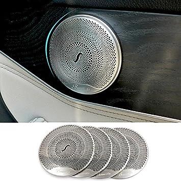 Acero inoxidable interior Audio Altavoz Altavoz para puerta de coche Borde cubre adhesivo accesorios: Amazon.es: Coche y moto